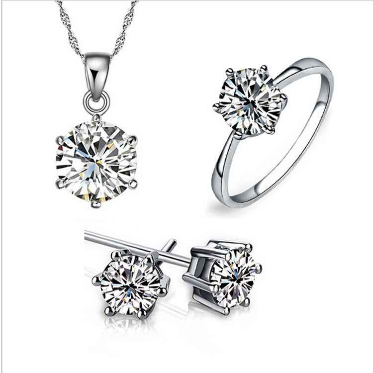 925 sterling silver fashion ladies birthday gift, wedding jewelry set rhinestone necklace ring earrings, 3 pieces, free shipping