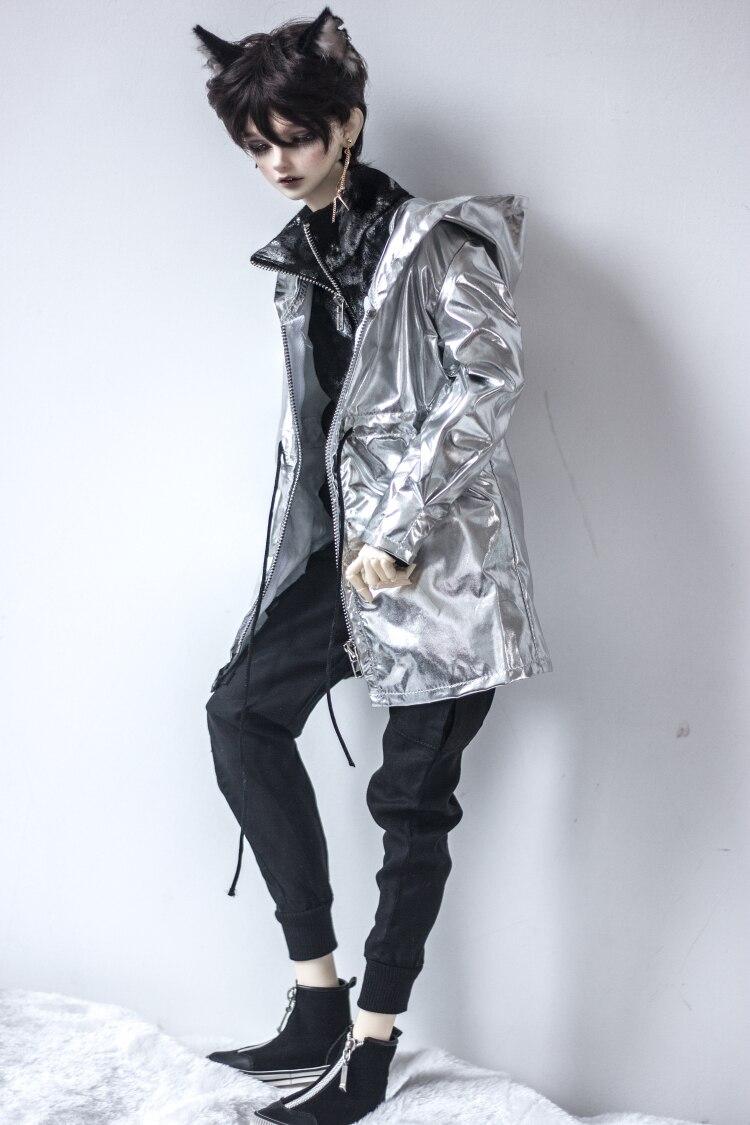 BJD poupée costume pour 1/3 1/4 MSD oncle poupée taille à la mode nouveau argent paillettes zip-up à capuche veste avec accessoires de poupée