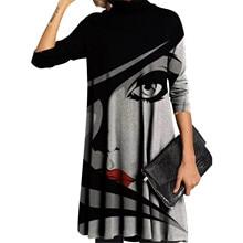Sweatshirt Dresses Vestido Lladies Casual Women's Fashion Oil-Painting Cross-Printed