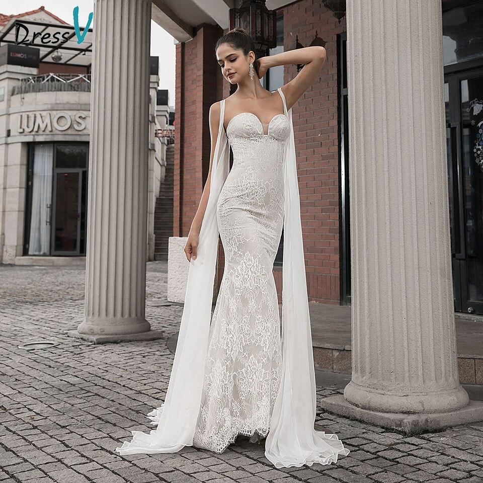Dressv Sweetheart Neck Wedding Dress Mermaid Lace With Court Train Zipper Up Trumpet Outdoor&Church Wedding Dresses Custom