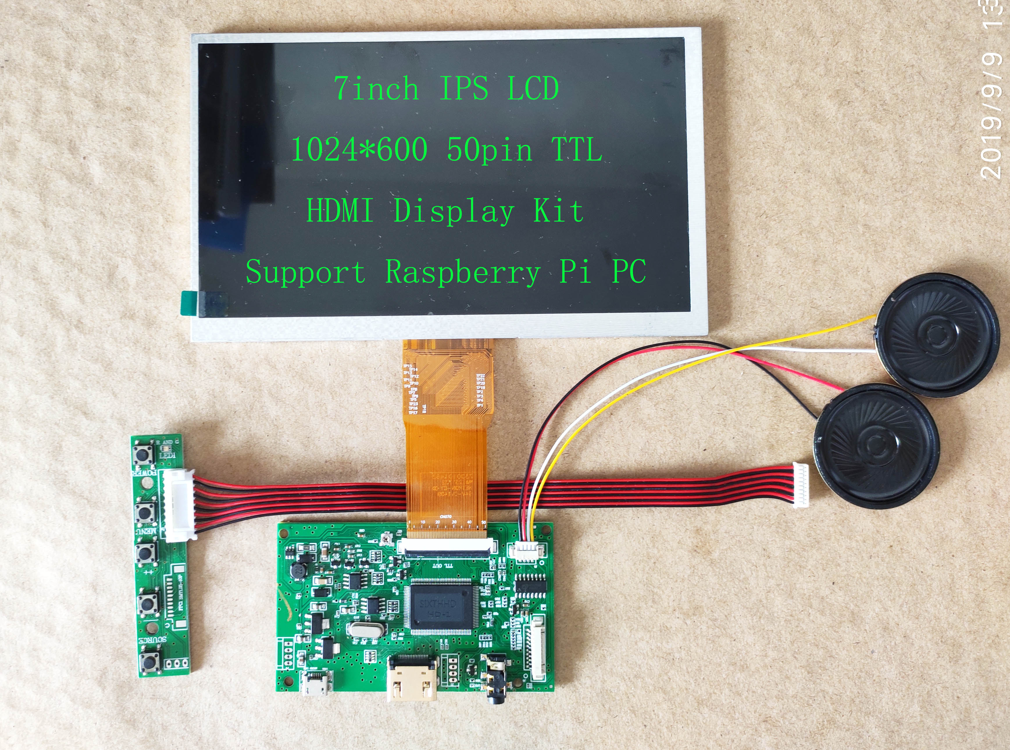 7inch IPS LCD HDMI 1024*600 USB Touch Screen <font><b>Display</b></font> Kit 165mm*100mm For <font><b>Raspberry</b></font> <font><b>Pi</b></font> PS3 PS4 image