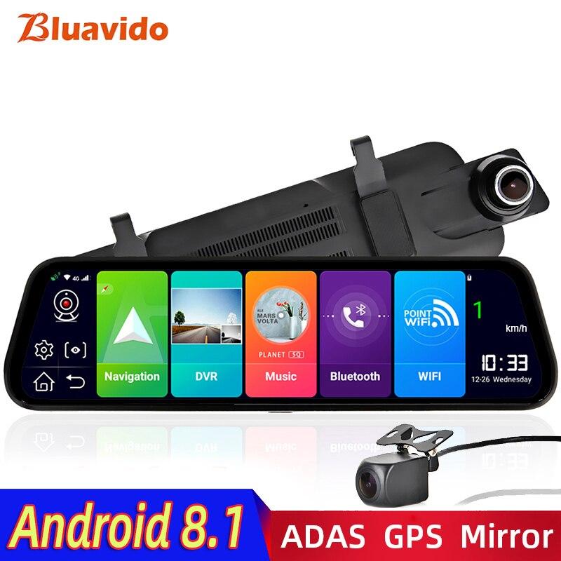 Bluavido 4G Android 8.1 Auto Spiegel Video Recorder GPS Navigatie ADAS Achteruitkijkspiegel Camera FHD 1080P Dual lens Dash Cam Dvr