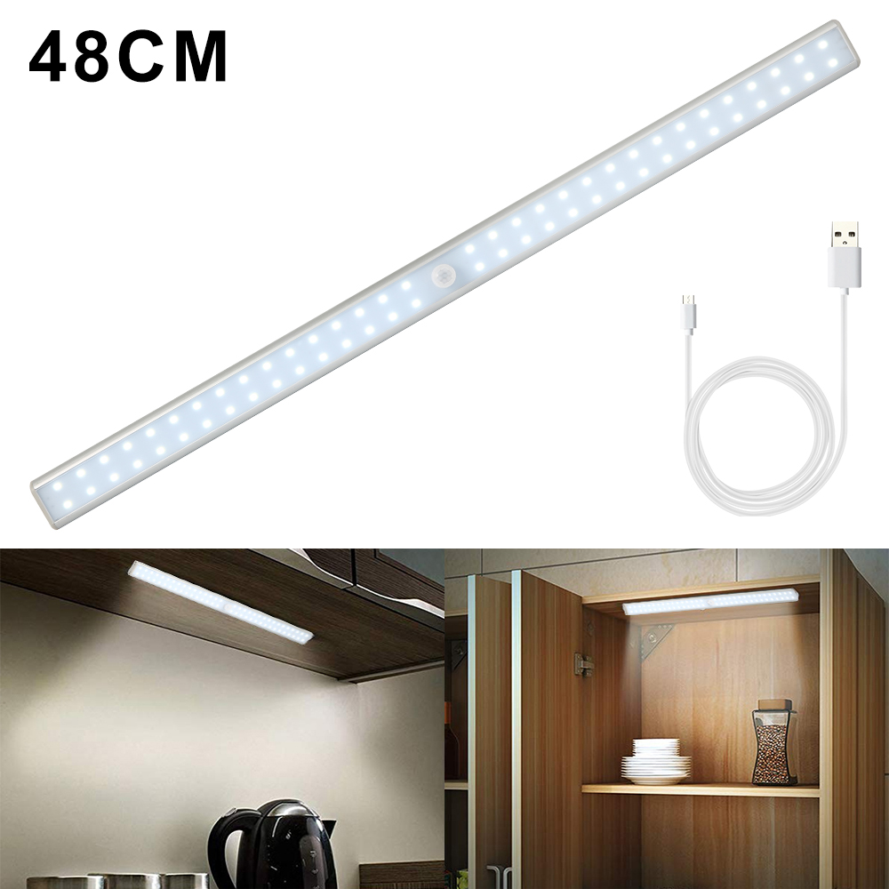LED Light USB Rechargeable LED Under Cabinet Light Motion Sensor Cabinet Closet Night Light for Wardrobe Cupboard Kitchen