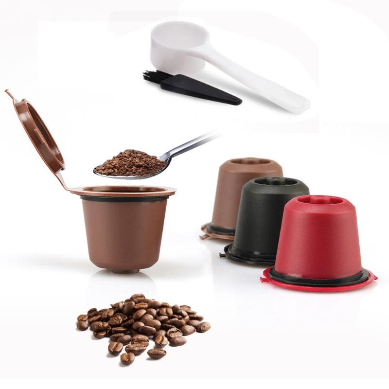 3 PACK Refillable Reusable Coffee Capsule With 1PC Plastic Spoon Filters Kitchen Accessories Durable Reusable Nespresso Capsules