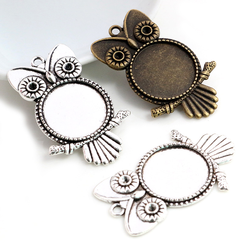 5pcs 20mm Inner Size Antique Silver Plated Bronze Classic Owl Style Cabochon Base Setting Charms Pendant