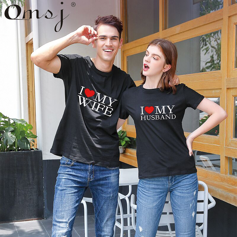 2019 New Hot Summer Cool Matching Couple T Shirts I Love My Wife& I Love My Husband Letter Print Lover Outfits For Him And Her