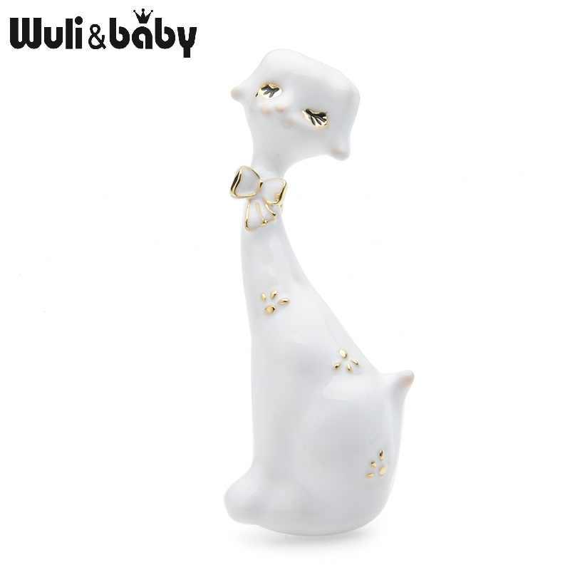 Wuli & baby Dello Smalto di Arte Gatto Spille Per Le Donne Nero Bianco Lovely Cat Animal Causale Del Partito Spilla Spilli Regali