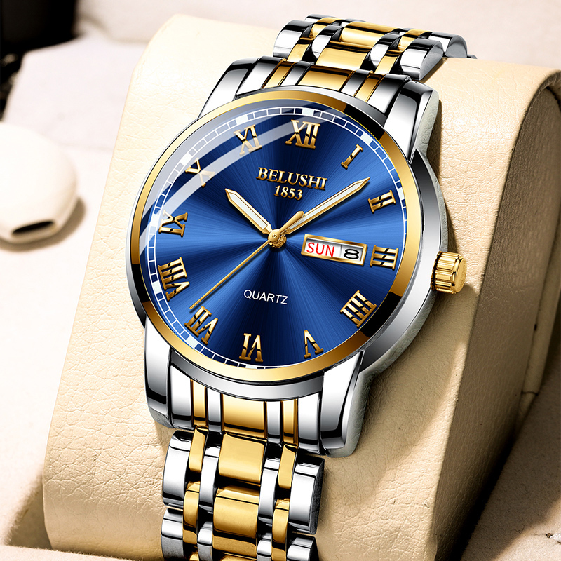 BELUSHI Top Brand Watch Men Stainless Steel Business Date Clock Waterproof Luminous Watches Mens Luxury Sport Quartz Wrist Watch