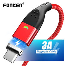 FONKEN USB Type C Magnetic Cable Quick Charger Type-C Wire Magnet Fast Charging Mobile Phone QC3.0 2M USB-C Data Cord