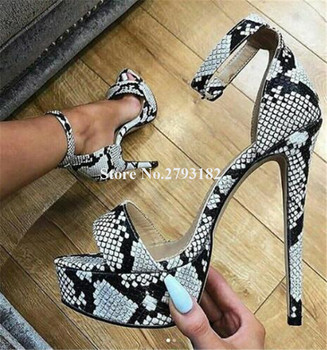 Women Charming Sexy Snake Leather High Platform Stiletto Heel Sandals Ankle Strap Grey High Heel Sandals Dress Heels Shoes фото