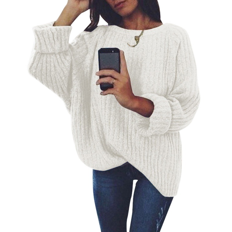 Women Spring Solid O Neck Knitted Sweater2020 Fashion Female Pullover Sweaters Ladies Loose Knitwear Dropshipping