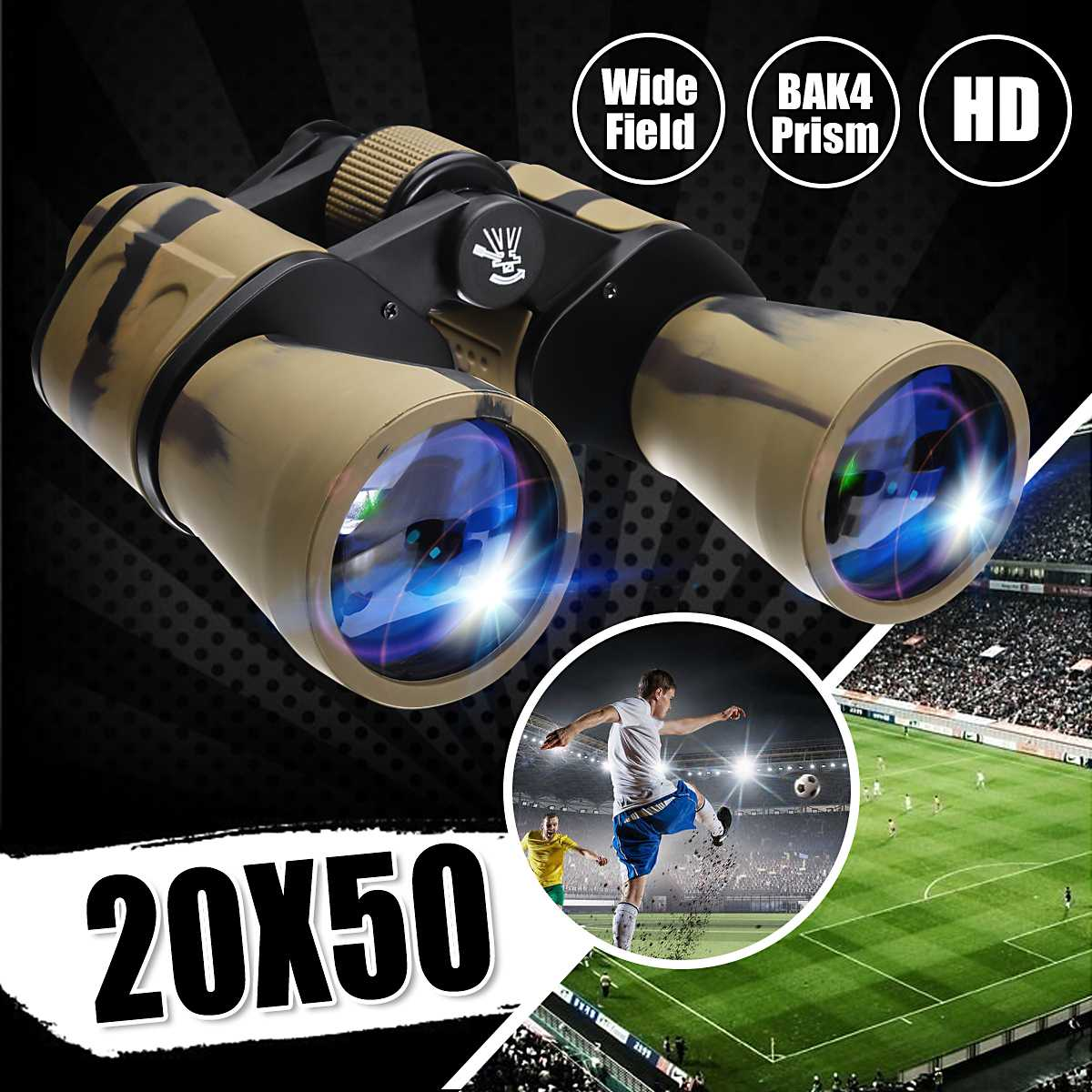 20x50 High Clarity Binoculars Powerful Military binocular For Outdoor Hunting Optical glass Hd Telescope low light Night Vision 1