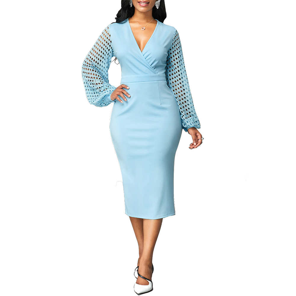 Herfst Jurk Vrouwen 2020 Elegante Sexy V-hals Hollow Out Lange Feestjurk Casual Plus Size Slim Solid Office Potlood Bodycon dresse
