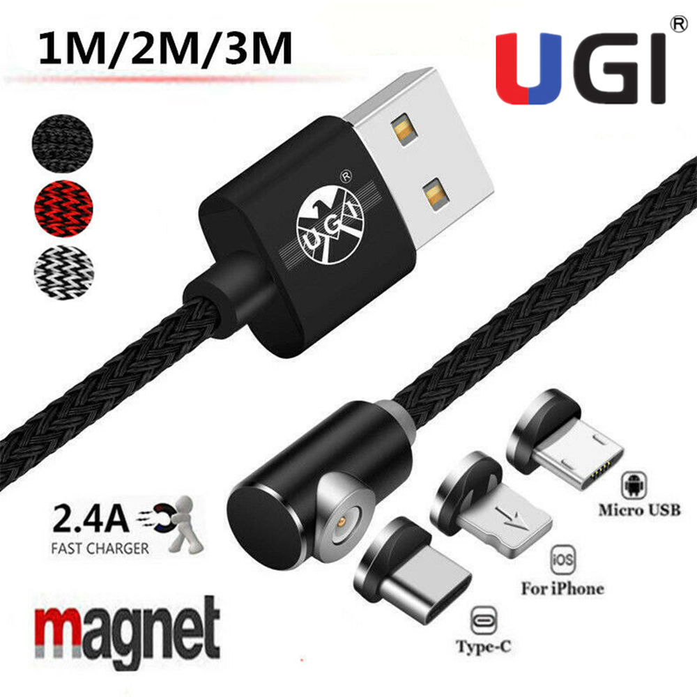 Магнитный зарядный кабель UGI 2A, 1 м, 2 м, 3 м, Micro USB Type-C, IOS, кабель для быстрой зарядки iPhone 7, 8, 11, XS, Samsumg, S8, S9, S10