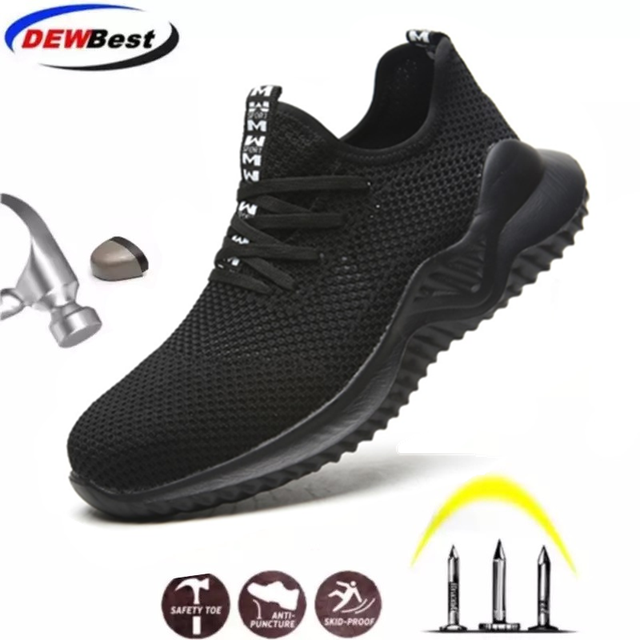 DEWBEST أحذية عمل غطاء صلب لأصبع القدم موضة خفيفة الوزن تنفس الرجال الصناعية والبناء أحذية السلامة العمل المشي أحذية رياضية