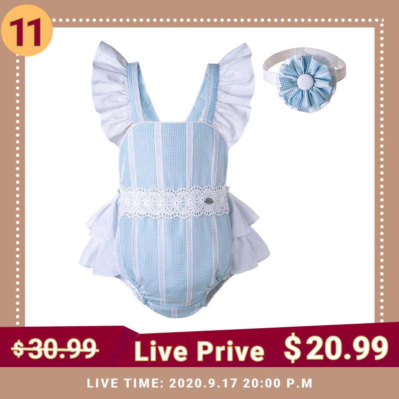 Pettigirl ฤดูร้อนสีฟ้าเด็กสาว Romper Fly Sequare ปลอกคอ Headwear ตรงกับลูกไม้เสื้อผ้าเด็ก G-DMRR203-C180