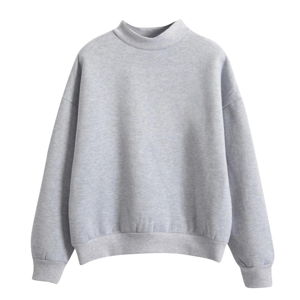 Velvet Women Sweatshirt Autumn Harajuku Style Lovely Solid Color Fleece Winter Hoodies Turtleneck Pastel Colors Jumper Tracksuit 3