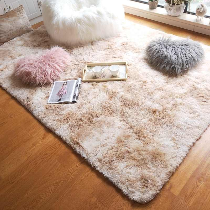 Floor Mat Super Soft Silk Carpet Bedroom Wool Rug Indoor Modern Solid Shag Area 2019 Baby Nursery Rug Children Plush Silky Rugs