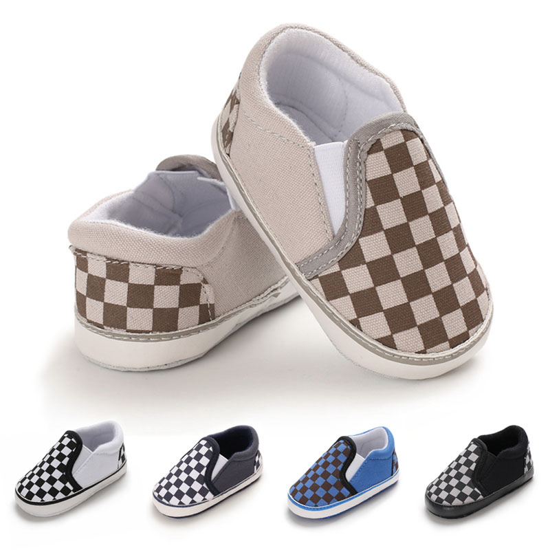 Checkered Canvas Baby Sports Shoes Newborn Baby Boys Girls First Walkers Shoes Infant Toddler Soft Sole Anti-slip Baby Shoes