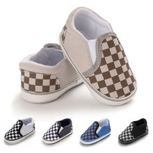 Checkered Canvas Baby Sports Shoes Newborn Boys Girls First Walkers Infant Toddler Soft Sole Anti-slip