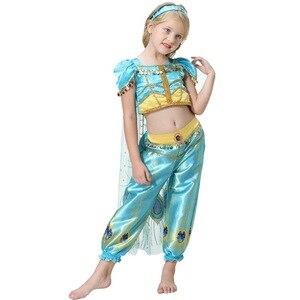 Image 3 - 2019 mädchen Prinzessin Jasmin Cosutmes Cape Kinder Bauchtanz Kleid Kinder Indische Kostüm Halloween Weihnachten Party Cosplay 2  10