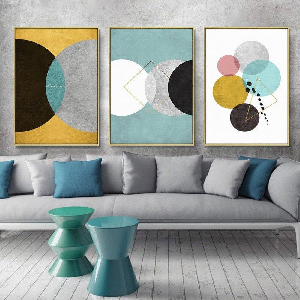 İskandinav Minimalist geometrik renkli yuvarlak tuval boyama Retro endüstriyel desen duvar sanat posterleri ev dekor Triptych resimleri