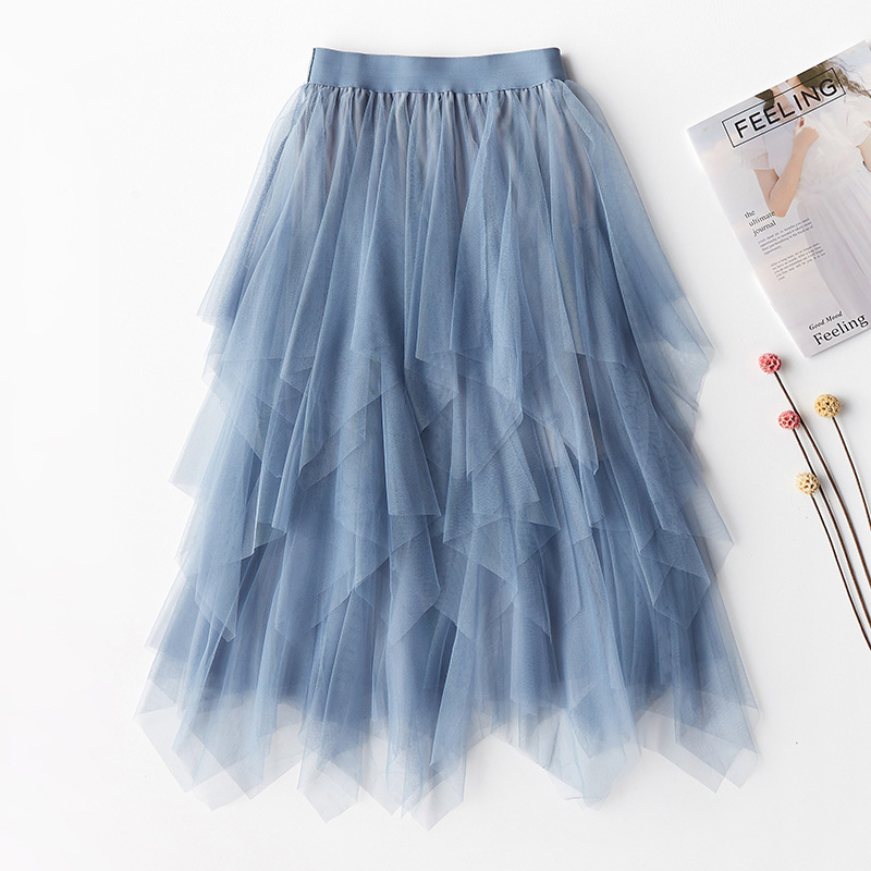 Tulle Long Skirts Women Fashion 2020 Spring Summer A Line Pleated Irregular High Waist Tutu Skirts With Lined Female Ladies Blue