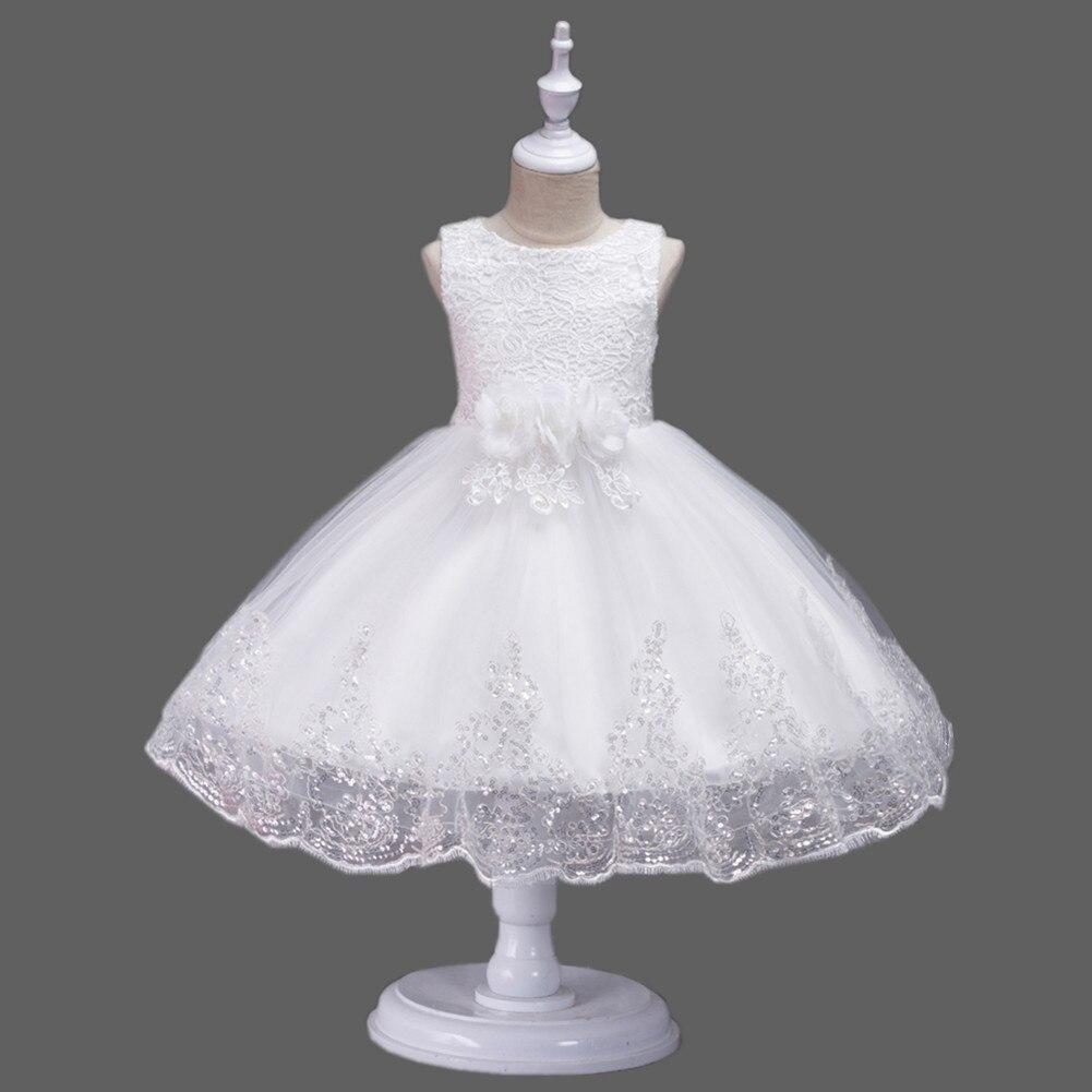 It's Yiya/платье с цветочным узором для девочек кружевные платья для первого причастия для девочек, элегантные рождественские Бальные платья без рукавов с блестками, 575 - Цвет: Белый