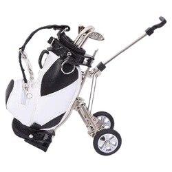 Mini Desktop Golf Souvenir Set with 3 Pens Shaped Golf Clubs a Miniature Golf Bag,Pen Holder Novelty Golf Gift Set