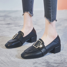 Trend Women Pumps Thick High Heel Metal Buckle Pearl Loafers Female Slip-on Ladies Office Shoes Chic Black Casual
