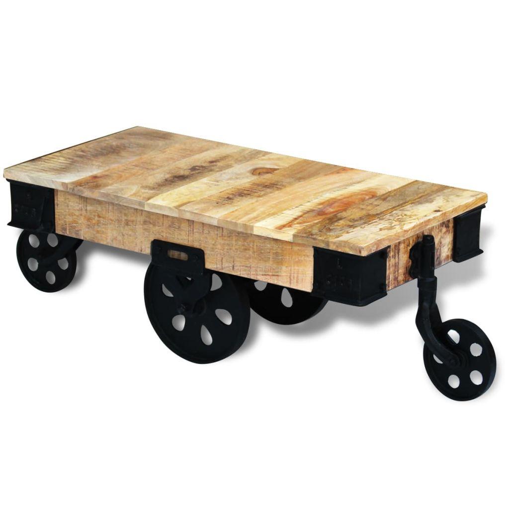 VidaXL Coffee Table With Wheels Rough Mango Wood
