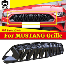 For MUSTANG Front Grille grill ABS Gloss Black Fits For Ford MUSTANG  1:1 Replacement Front Bumper Kidney look Grills 2018-in цена