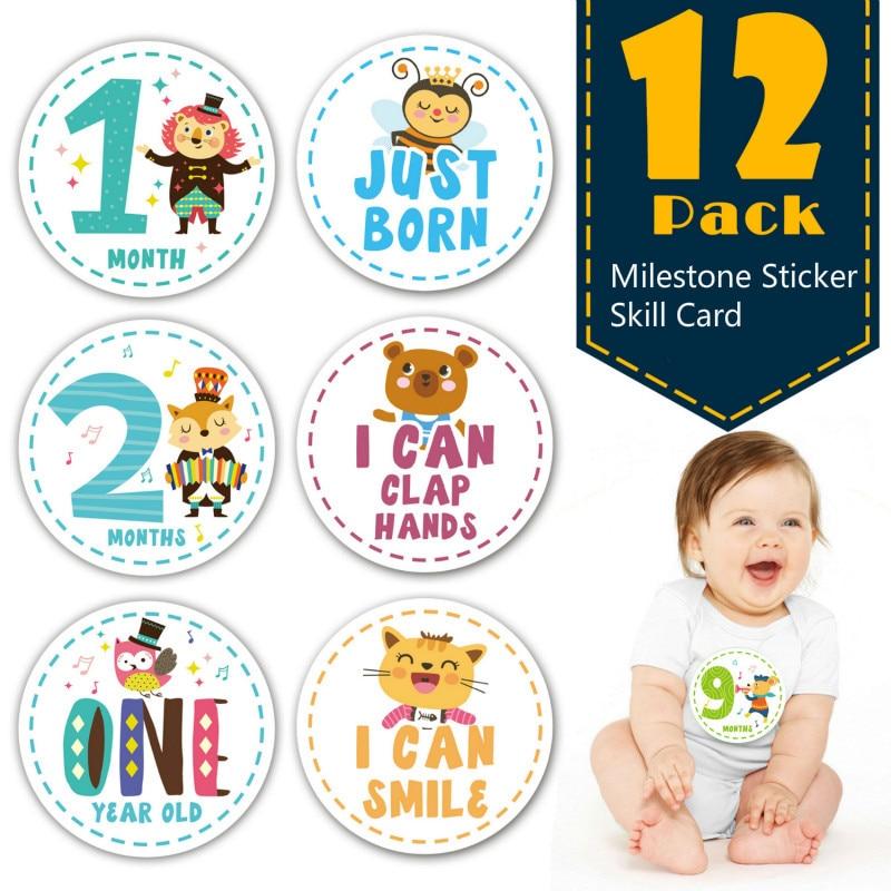 Baby Month Sticker Pregnant Women Month Card Milestone Memorial Sticker Newborn Pregnant Women Fun Photograph Props 12pcs/set