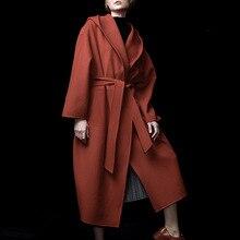New Women Wool Coat 2019 Cashmere Overcoat Pure Colored Cap Long Adjustable Waist Black