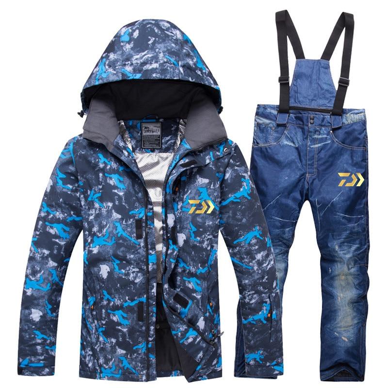 Daiwa 2020 Man Winter Waterproof Fishing Clothing Warm Hiking Fishing Clothes Outdoor Trekking Camping Fishing Jacket Set Pants