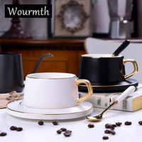 Wourmth Nordic Style Matte Coffee Cup Saucer Black and White Luxury Gold Series Ceramic Coffee Milk Tea Cup Dpoon Drinkware Gift