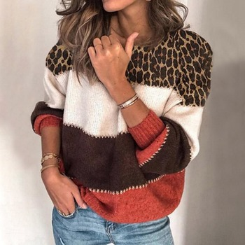 Muyogrt Women Leopard Sweater Long Sleeve Autumn Warm O-Neck Loose Sweater Patchwork Casual Knit Sweaters Pullover Jumper Tops new arrival casual spring autumn loose sweater pullovers women long sleeve patchwork knit top female o neck geometric sweater