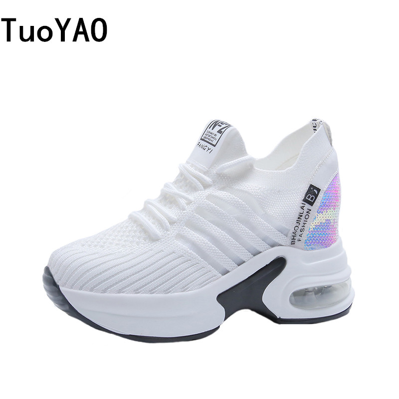 New Women Trainers White Shoes 8CM Summer Mesh Platform Sneakers High Heels Wedges Blling Shoes Breathable Casual Shoes Woman image