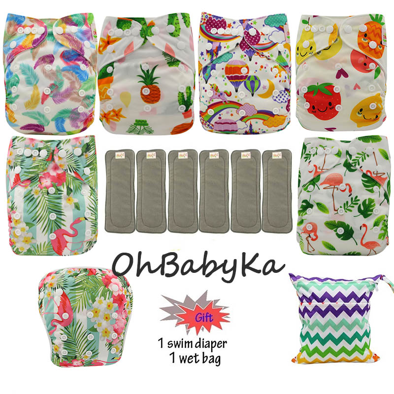 Ohbabyka 6pcs Diapers Washable Cloth Diapers Baby Pocket Diaper Reusable Nappies Cover 6pcs Bamboo Charcoal Insert Dropshipping