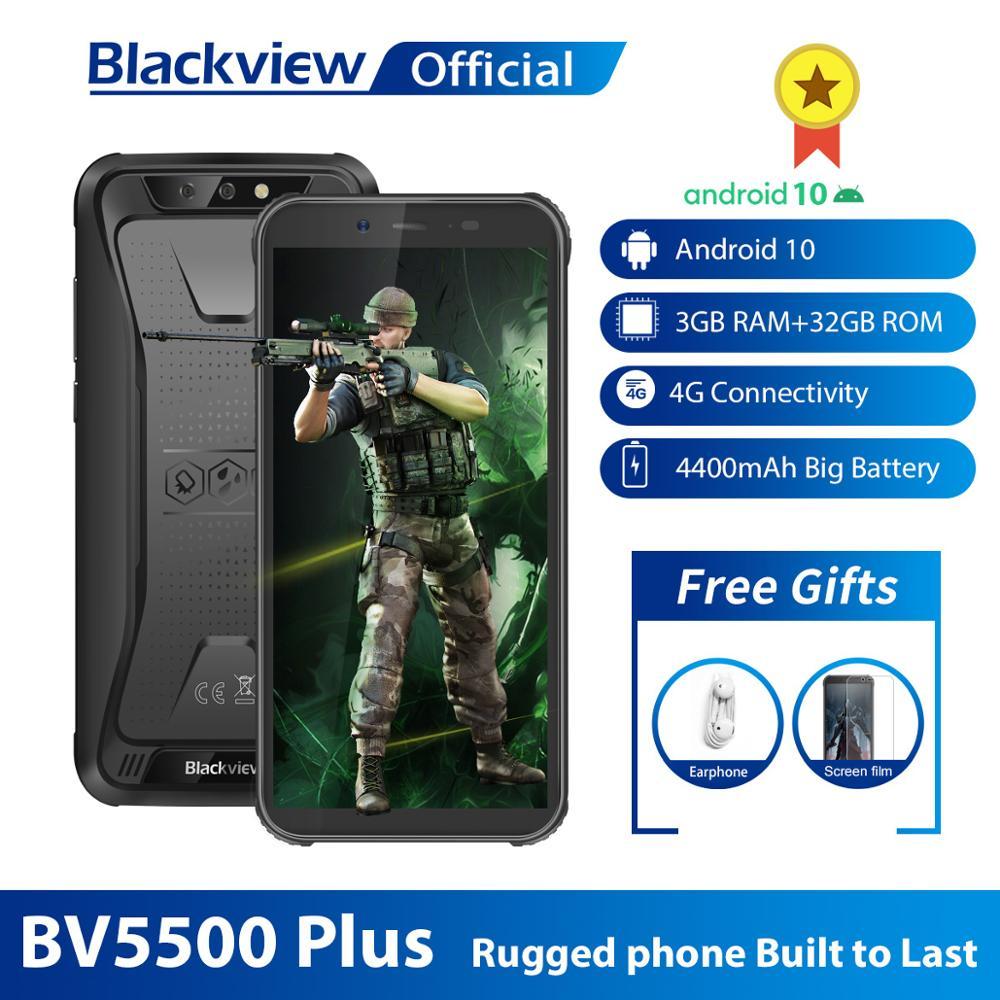 "Blackview 2020 New BV5500 Plus IP68 Waterproof 4G Mobile Phone 3GB+32GB Android 10.0 Phone 5.5"" Screen 4400mAh Rugged Smartphone(China)"