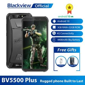 "Blackview 2020 New BV5500 Plus IP68 Waterproof 4G Mobile Phone 3GB+32GB Android 10.0 Phone 5.5"" Screen 4400mAh Rugged Smartphone(China)"