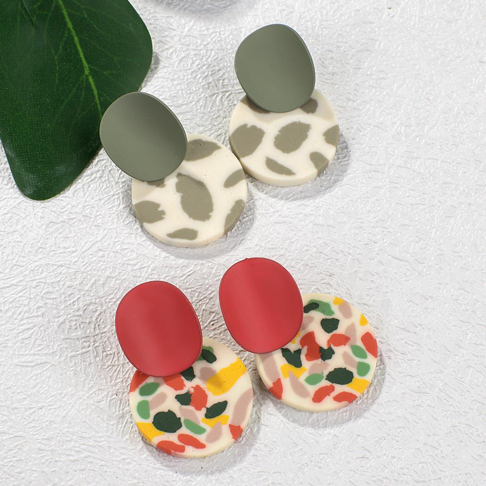 AENSOA Trendy Unique Polymer Clay Drop Earrings For Women 2021 Cute Multi-color Round Pendant Dangle Earrings Leopard Jewelry