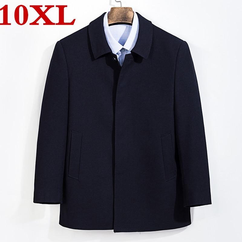 new large size 8XL 7XL Coat Men Windbreak Winter Fashion Mens Overcoat Wool Quality Thick Warm Trench Coat Male Woolen coat