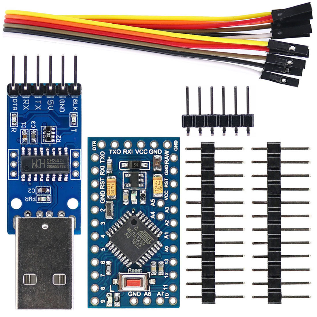 Improved Pro Mini ATmega328P 5V/16MHz Board + CH340G Programmer Module USB To TTL For Arduino