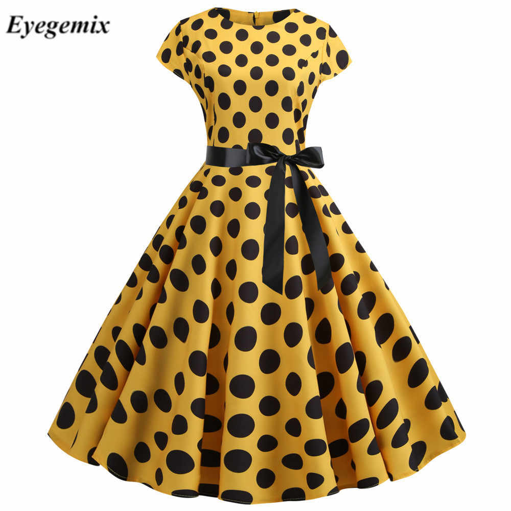 Polka Dot Print Zomer Jurk Vintage Vrouwen Big Swing Rockabilly Jurk Robe Femme Plus Size Casual Bloemen Office Party Vestidos