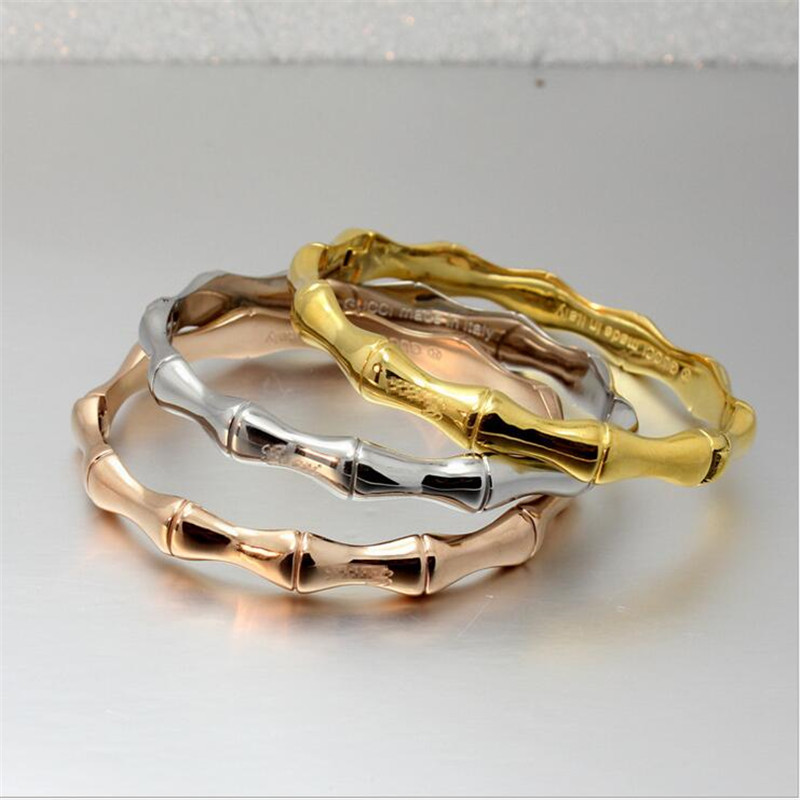 High Quality Stainless Steel Gold Bamboo Bracelets & Bangles for Women Titanium Rose Gold Fashion Jewelry Girl Friend Gifts