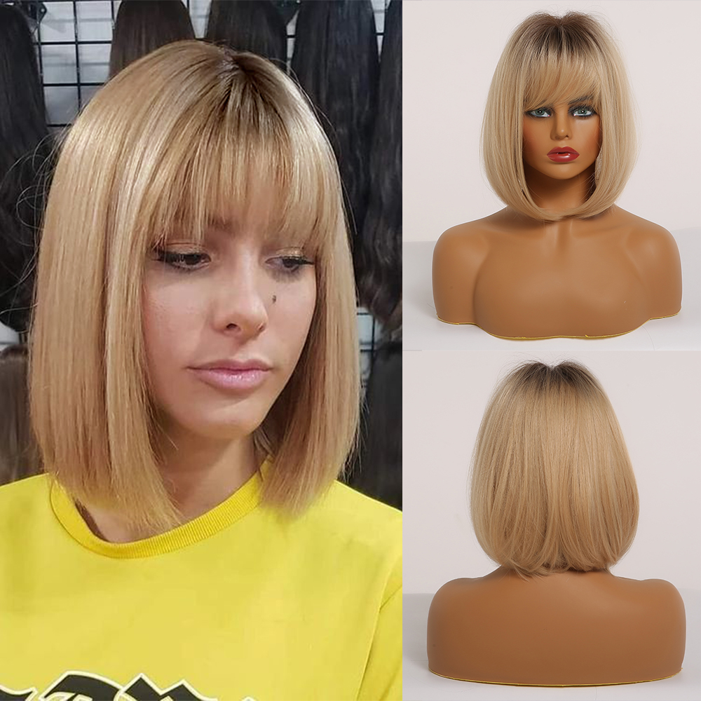 EASIHAIR Brown To Blonde Ombre Straight Bob Synthetic Wigs For Women Medium Length Hair Bob Wig With Bangs Wigs Heat Resistant