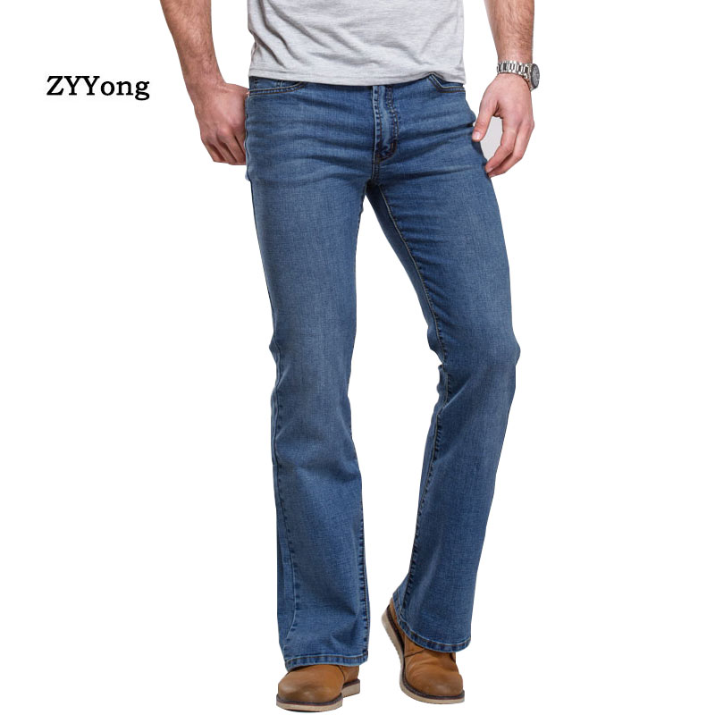 Mens Boot Cut Jeans Pants Slightly Flared Slim Blue Black Designer Classic Clothing Leisure Comfortable Stretch Denim Trousers