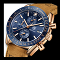 Benyar Mannen Horloges Merk Luxe Lederen Waterdichte Sport Quartz Chronograaf Militaire Horloge Mannen Klok Relogio Masculino BY-5140M