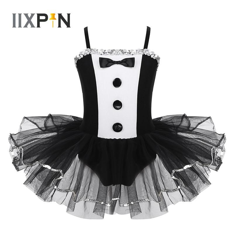 Girls Tuxedo Look Tutu Ballet Dance Costume Sequins Trimming Gymnastics Leotard Ballet Mesh Tutu Dress Ballerina Dress Kids Girl